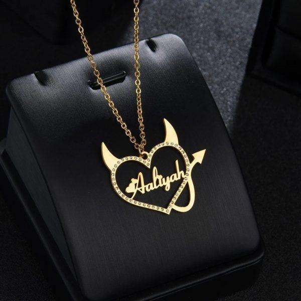 Heart Beat Wave Golden Necklace Pendant For Women
