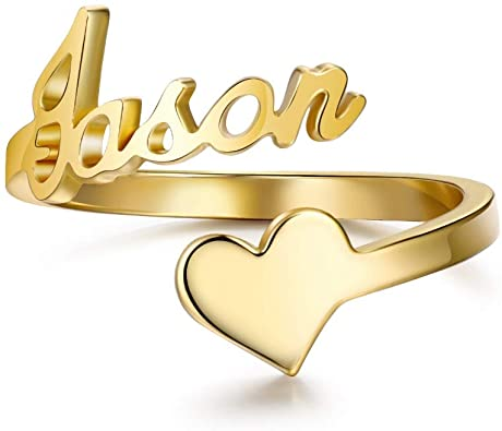 heart Shape Engraved Stainless Ring