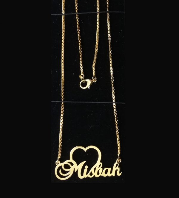 Heart Design Gold Plated Chain Single Name Necklace