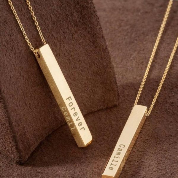 Customized 3D Gold Bar necklace For Boys & Girls PERFECT GIFT TO SEND your Special