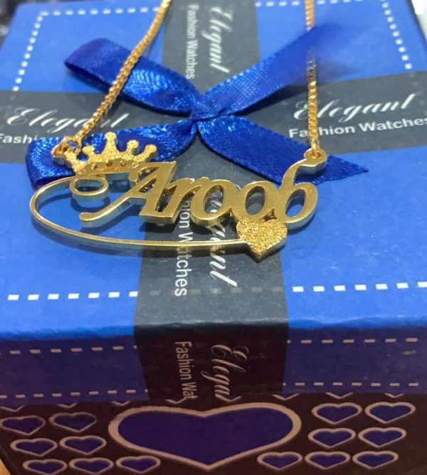 Crown & Heart Design Name necklace