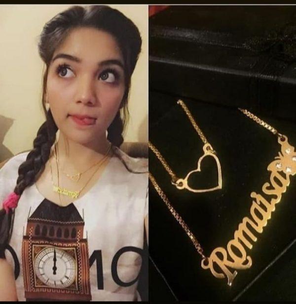 ROMAISA KHAN Tiktoker Wearing Golden Name Necklace