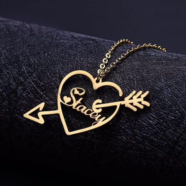 Lovely Hearttouching Golden Name Name Necklace