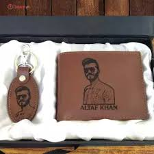 picture wallet & keychain Leather