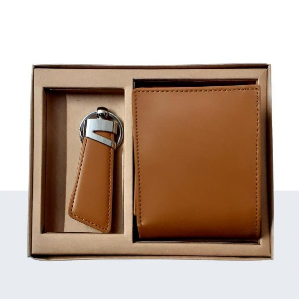 brown leather plain wallet & keychain buy Special gift 4you