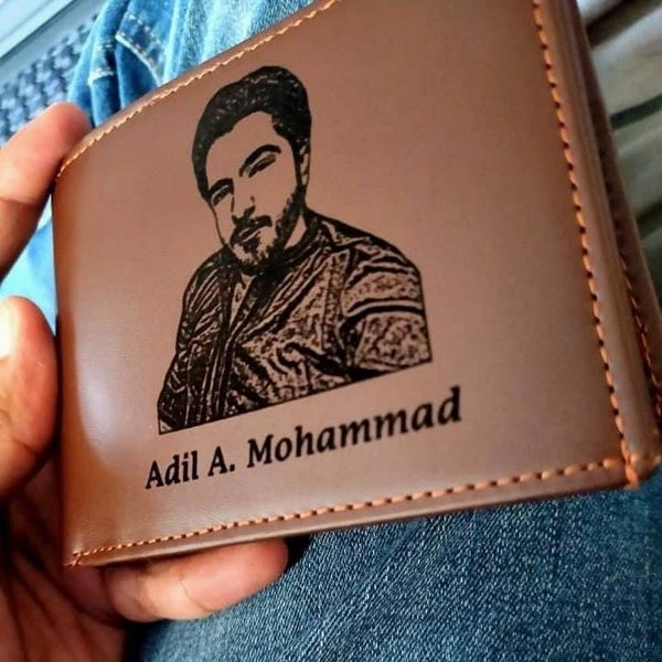 Customized Name And Picture Engraved Wallet & Keychain Along with Customized Pen